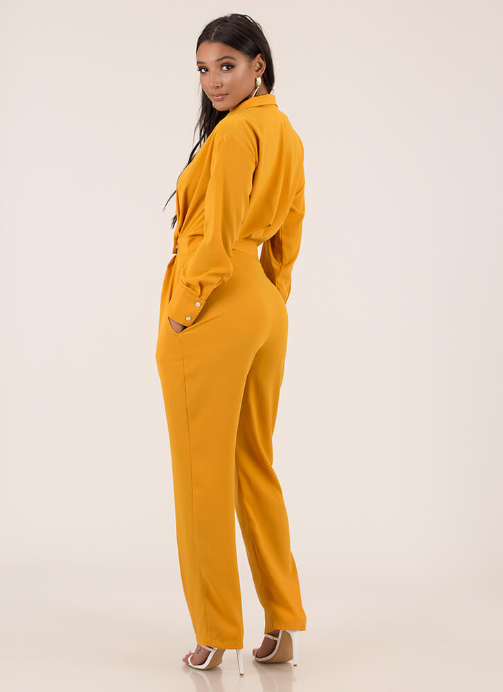 That's My Strong Suit Blazer Jumpsuit YELLOW