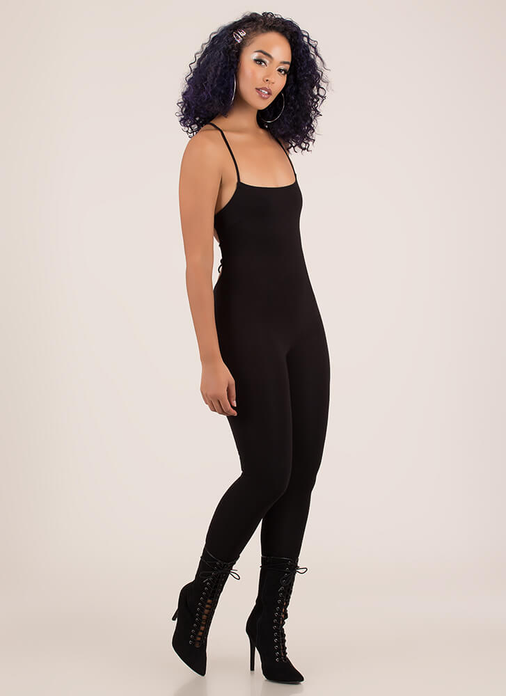 Turn Me Around Lace-Back Jumpsuit BLACK