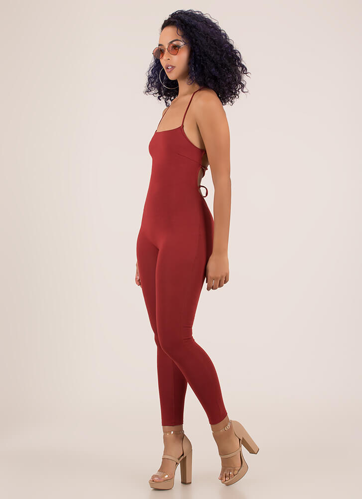 Turn Me Around Lace-Back Jumpsuit RUST