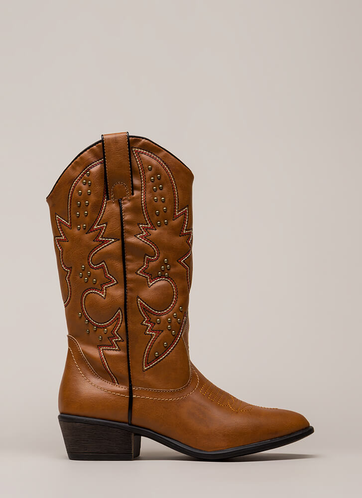 New Flame Stitched Cowgirl Boots CHESTNUT