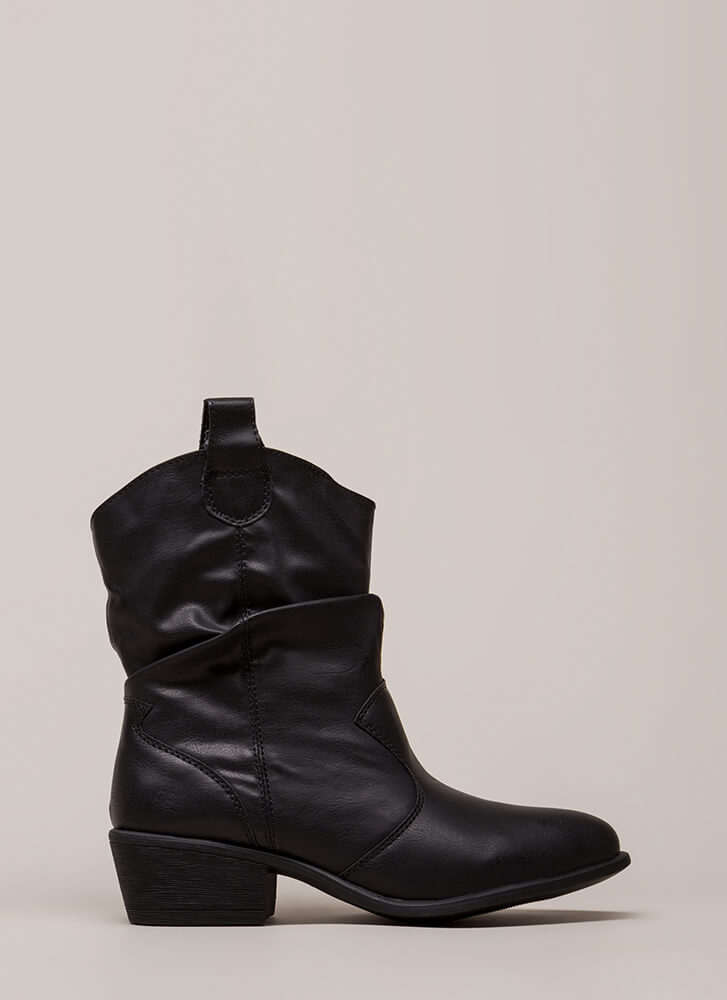 Short Stuff Slouchy Cowgirl Boots BLACK