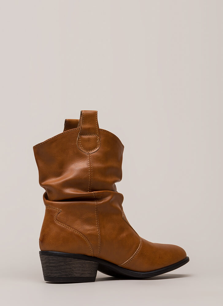 Short Stuff Slouchy Cowgirl Boots CHESTNUT