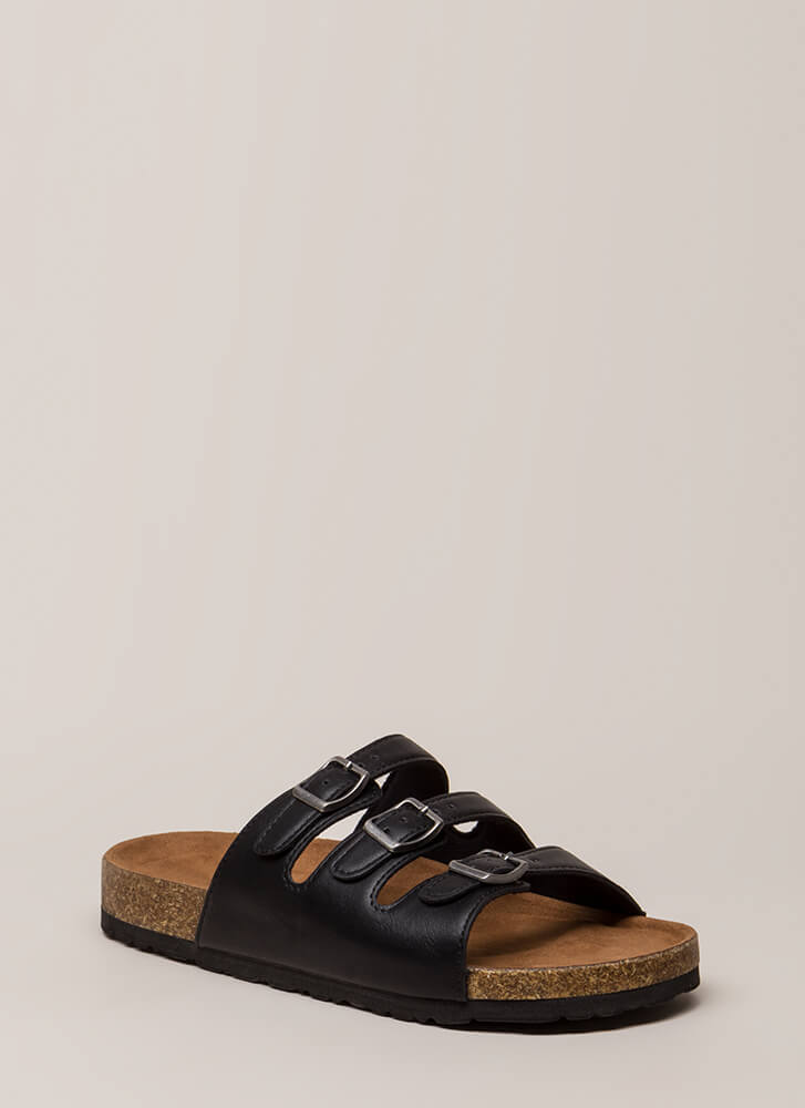 One Two Three Buckled Slide Sandals BLACK