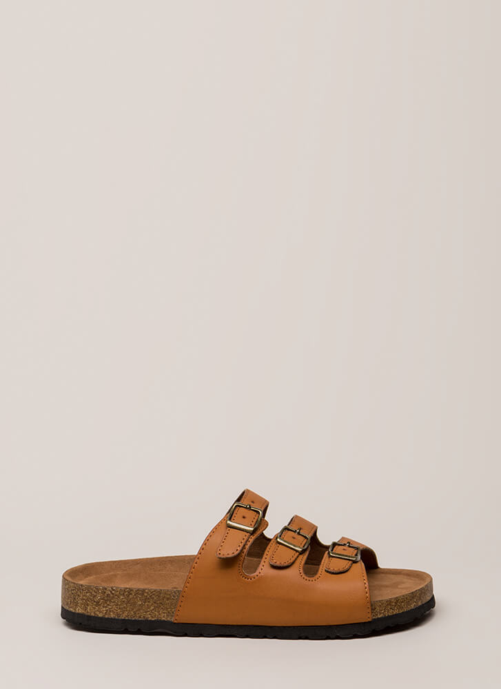 One Two Three Buckled Slide Sandals TAN