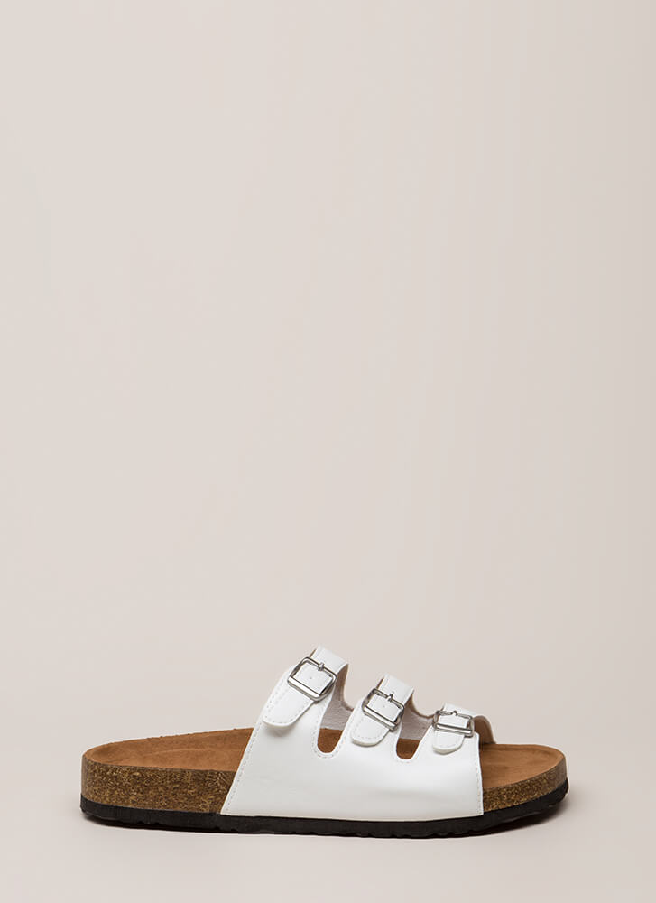 One Two Three Buckled Slide Sandals WHITE