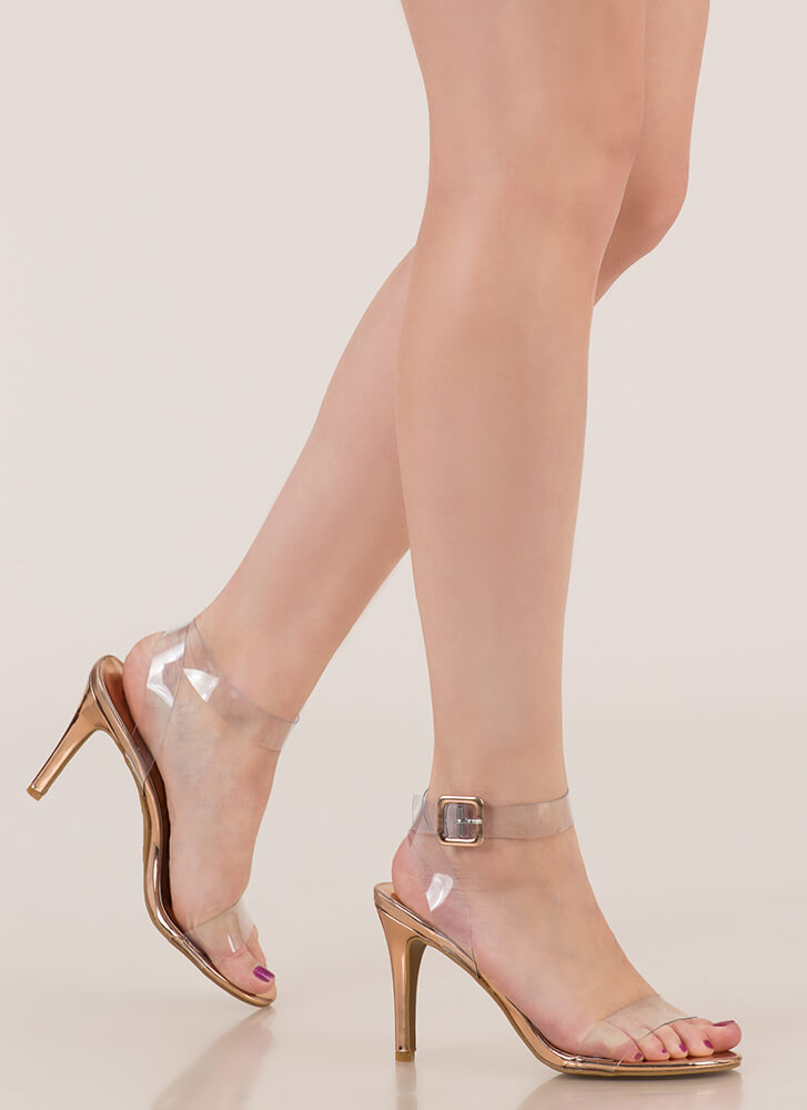 Make Yourself Clear Ankle Strap Heels ROSEGOLD (Final Sale)