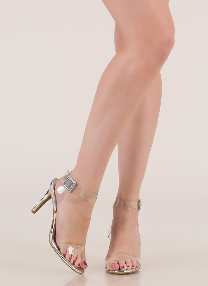 Make Yourself Clear Ankle Strap Heels SILVER (Final Sale)