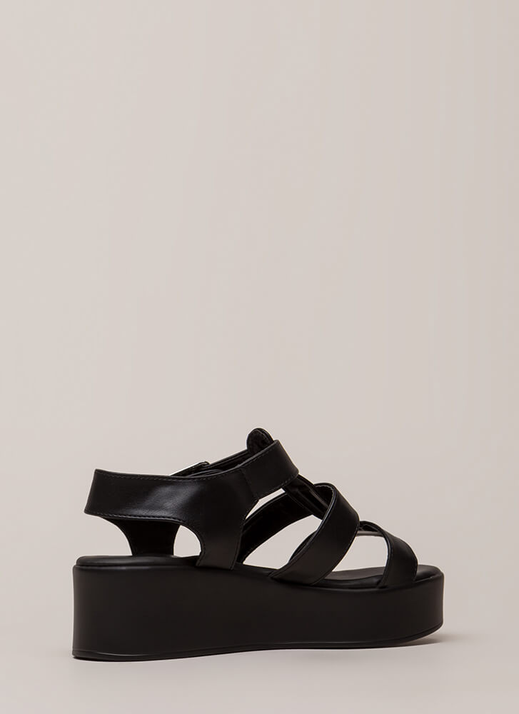 New Heights Strappy Platform Sandals BLACK
