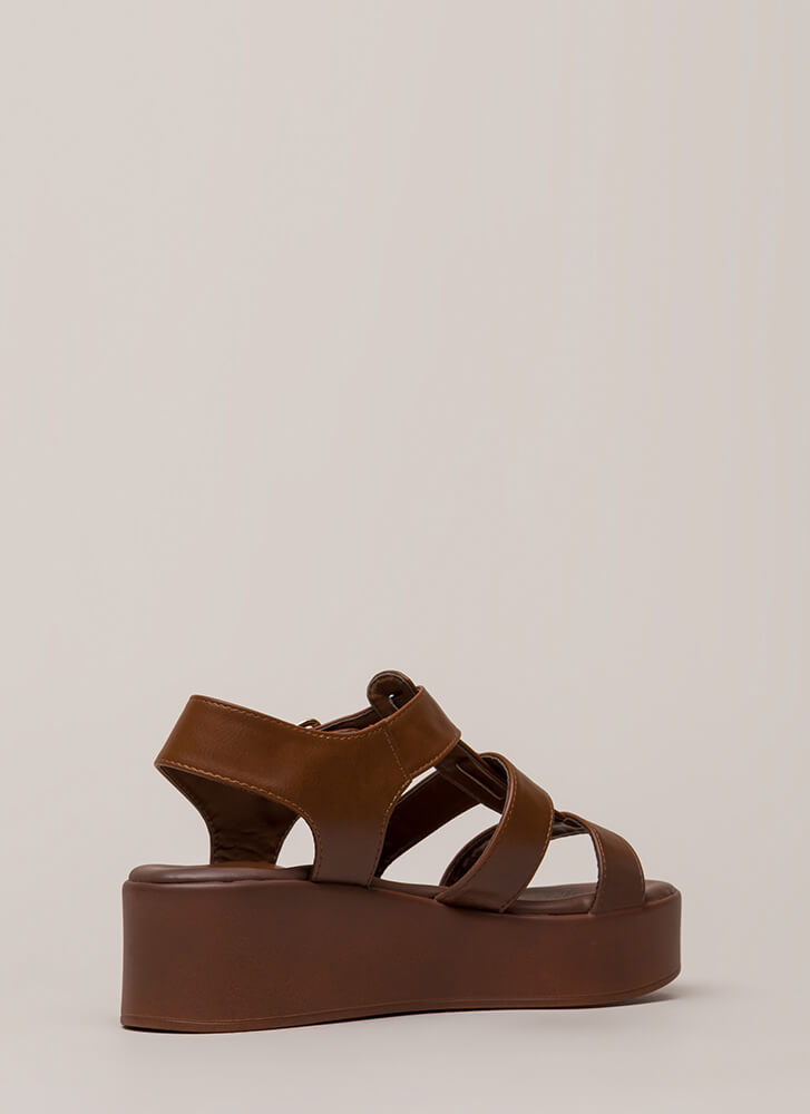 New Heights Strappy Platform Sandals CHESTNUT