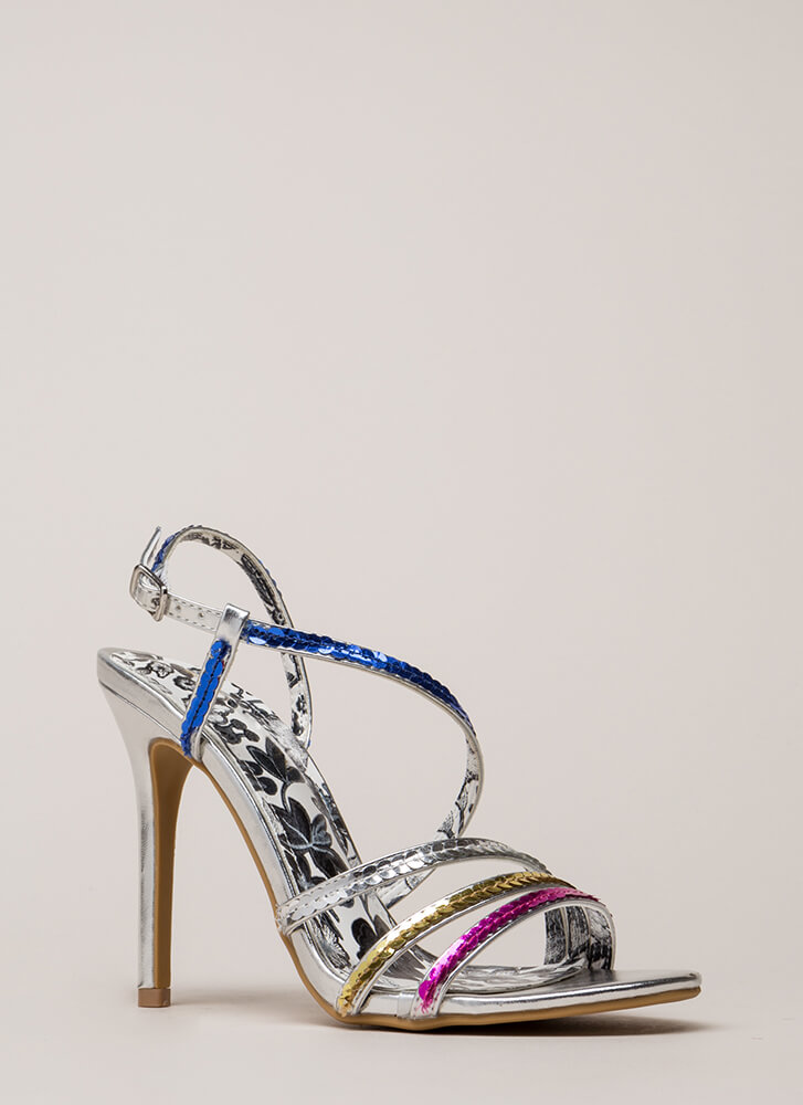 Party Girl Strappy Sequined Heels SILVER