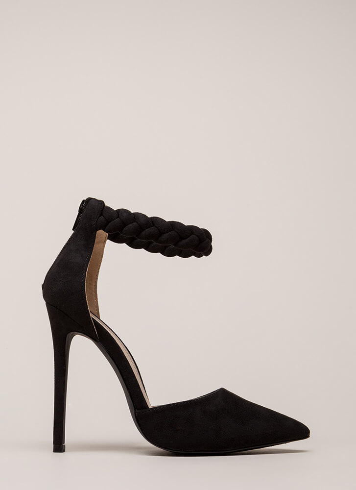 Braid New World Pointy Faux Suede Heels BLACK (Final Sale)