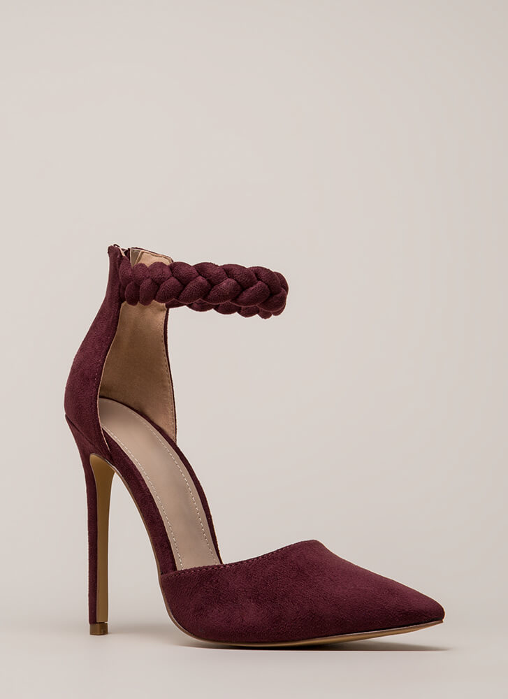 Braid New World Pointy Faux Suede Heels BURGUNDY
