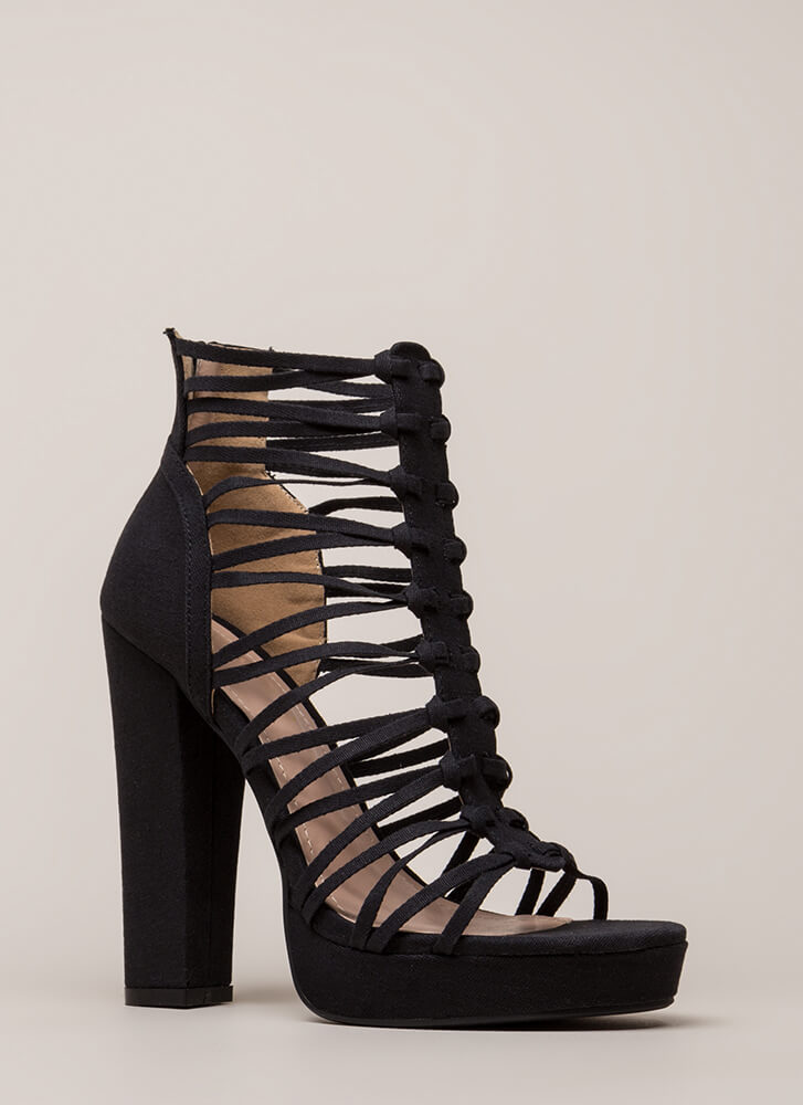 Laces Wild Chunky Caged Platforms BLACK