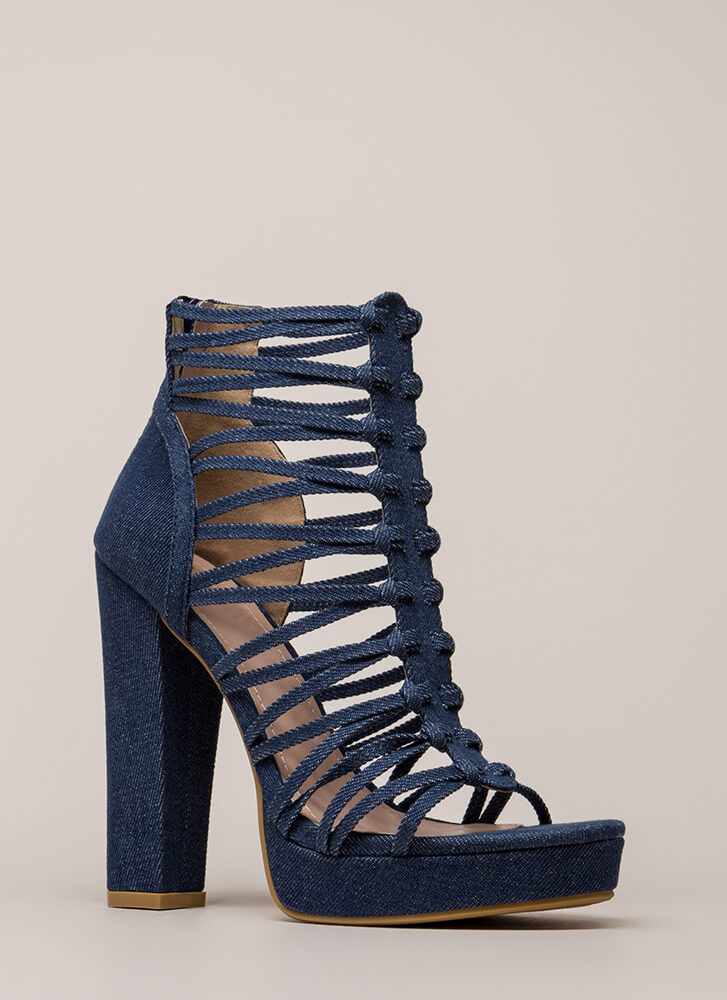 Laces Wild Chunky Caged Platforms BLUE