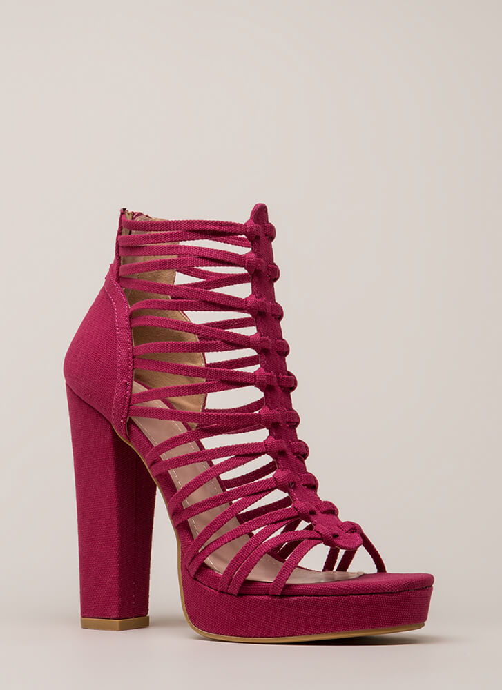 Laces Wild Chunky Caged Platforms FUCHSIA
