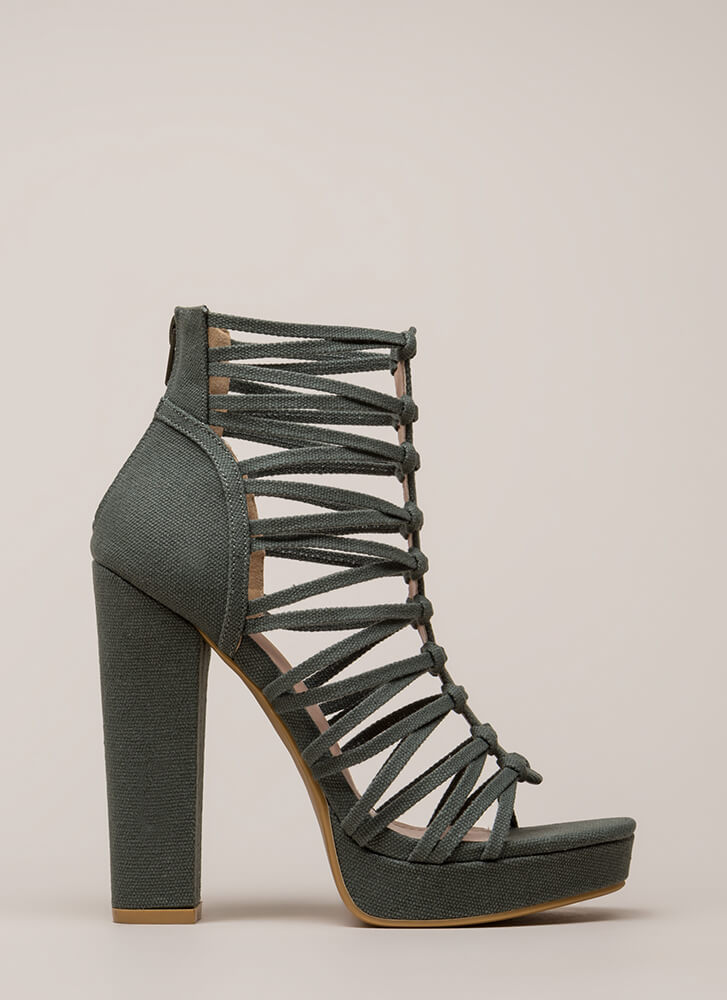 Laces Wild Chunky Caged Platforms OLIVE