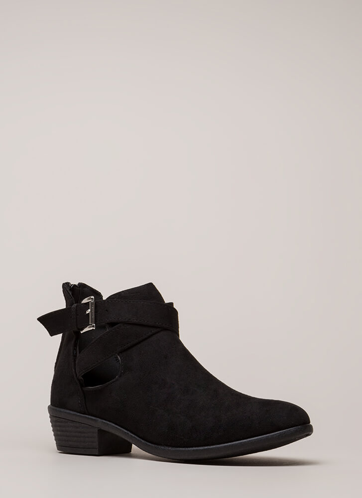Cool Factor Strappy Cut-Out Booties BLACK
