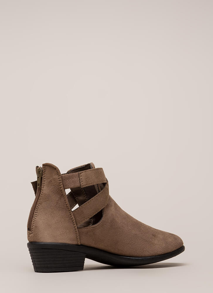Cool Factor Strappy Cut-Out Booties TAUPE (You Saved $15)