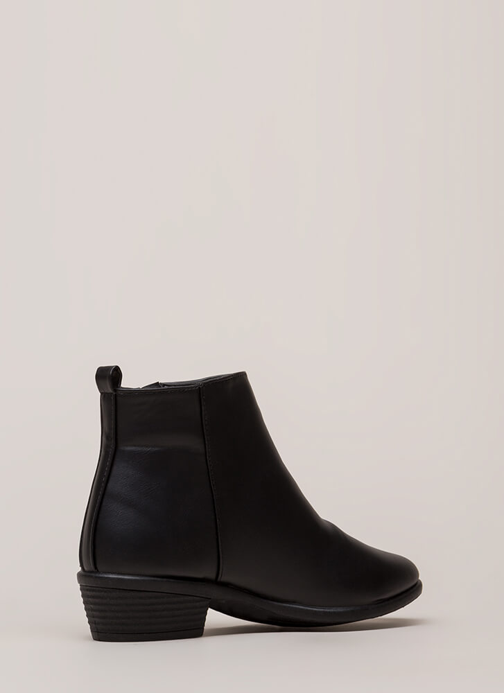 Cool It Faux Leather Zipper Booties BLACK (You Saved $14)