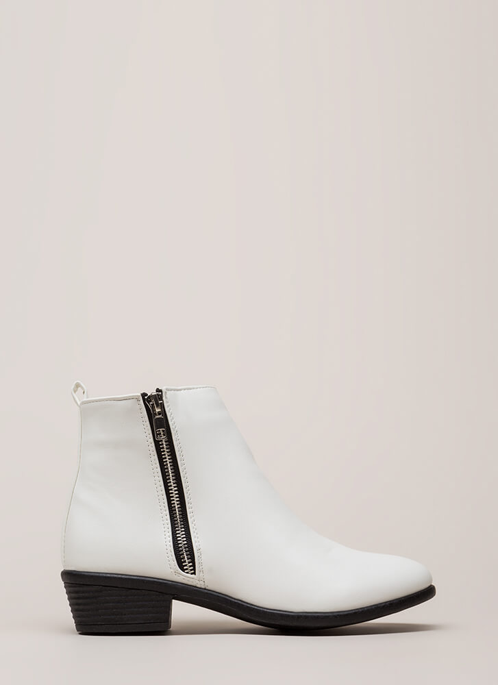 Cool It Faux Leather Zipper Booties WHITE