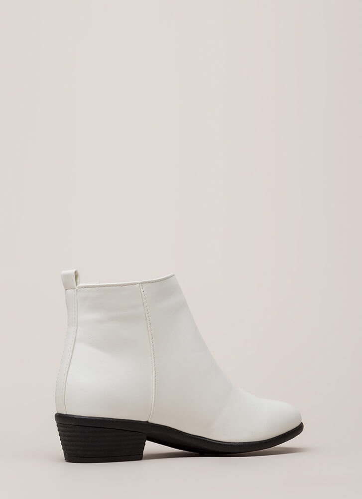 Cool It Faux Leather Zipper Booties WHITE (You Saved $14)