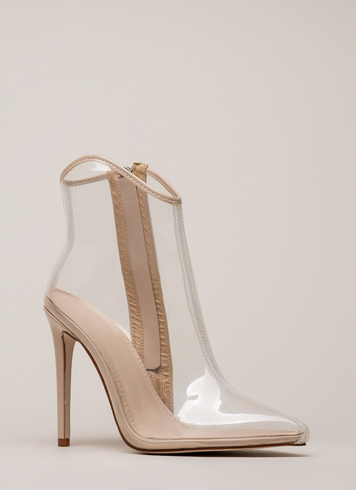 The Coast Is Clear Pointy Booties CLEARNUDE
