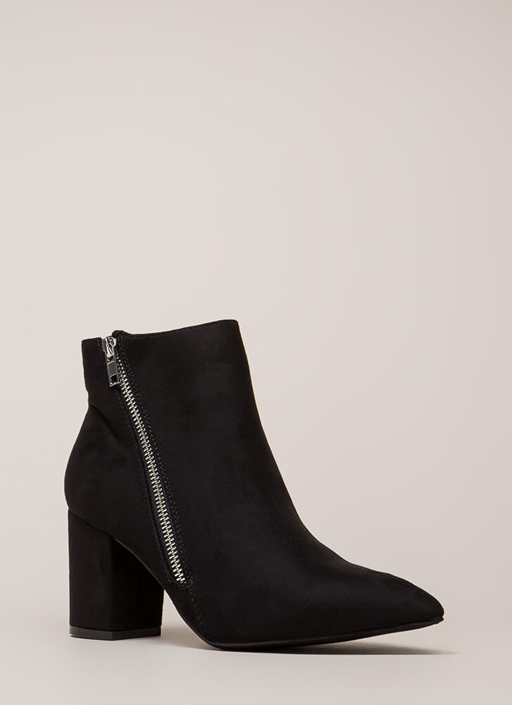 Zip Line Chunky Faux Suede Booties BLACK