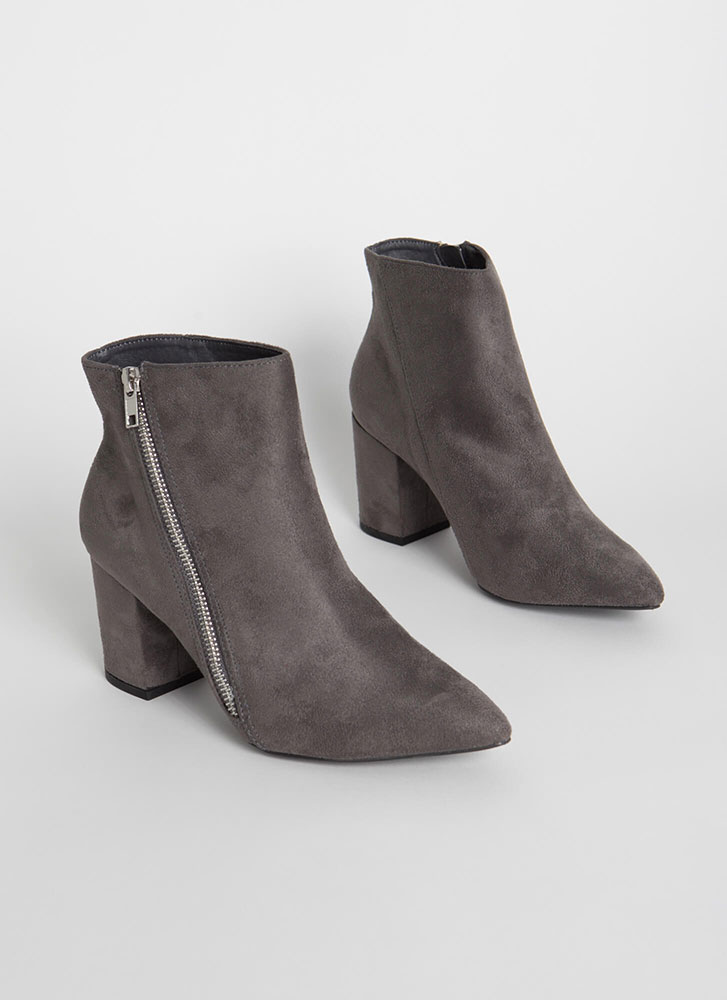 Zip Line Chunky Faux Suede Booties DKGREY