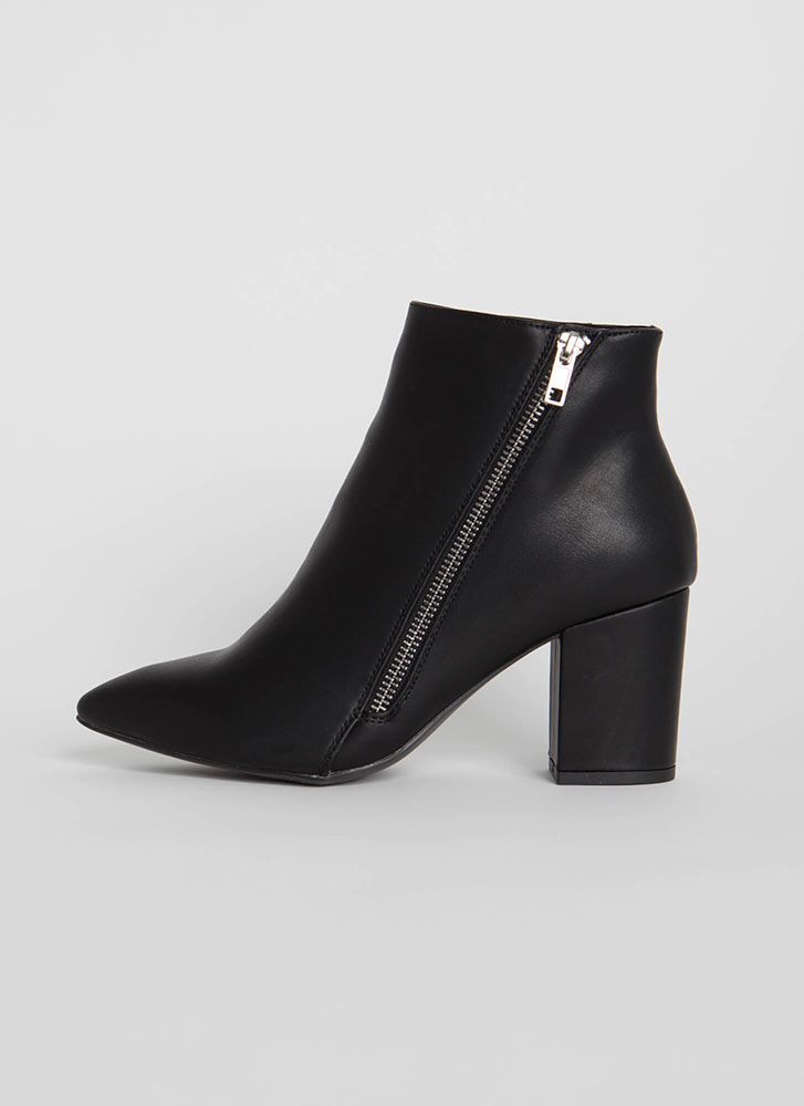 Zip Line Chunky Faux Leather Booties BLACK