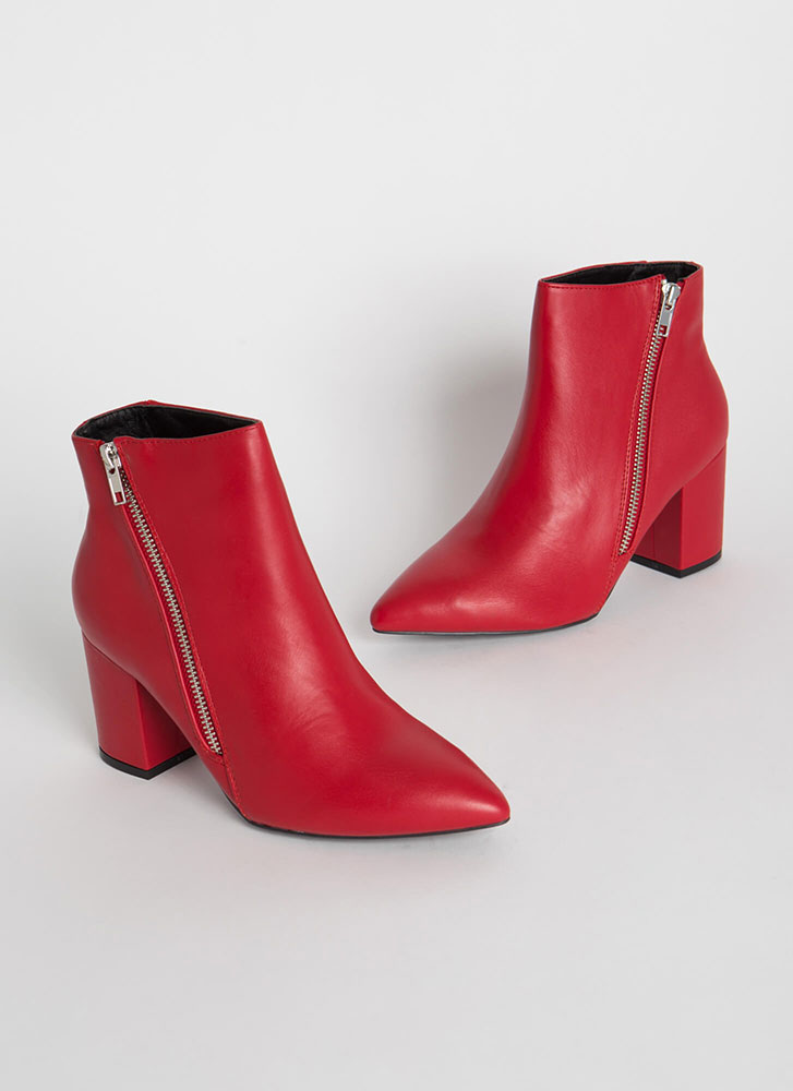 Zip Line Chunky Faux Leather Booties RED (You Saved $20)