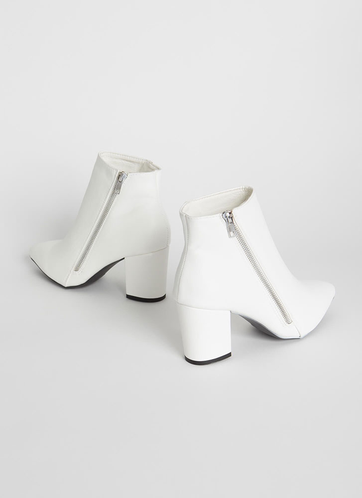 Zip Line Chunky Faux Leather Booties WHITE