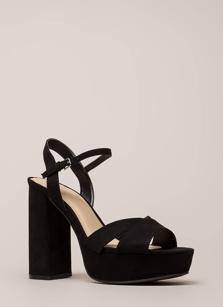 Tall Drink Chunky Faux Suede Platforms BLACK