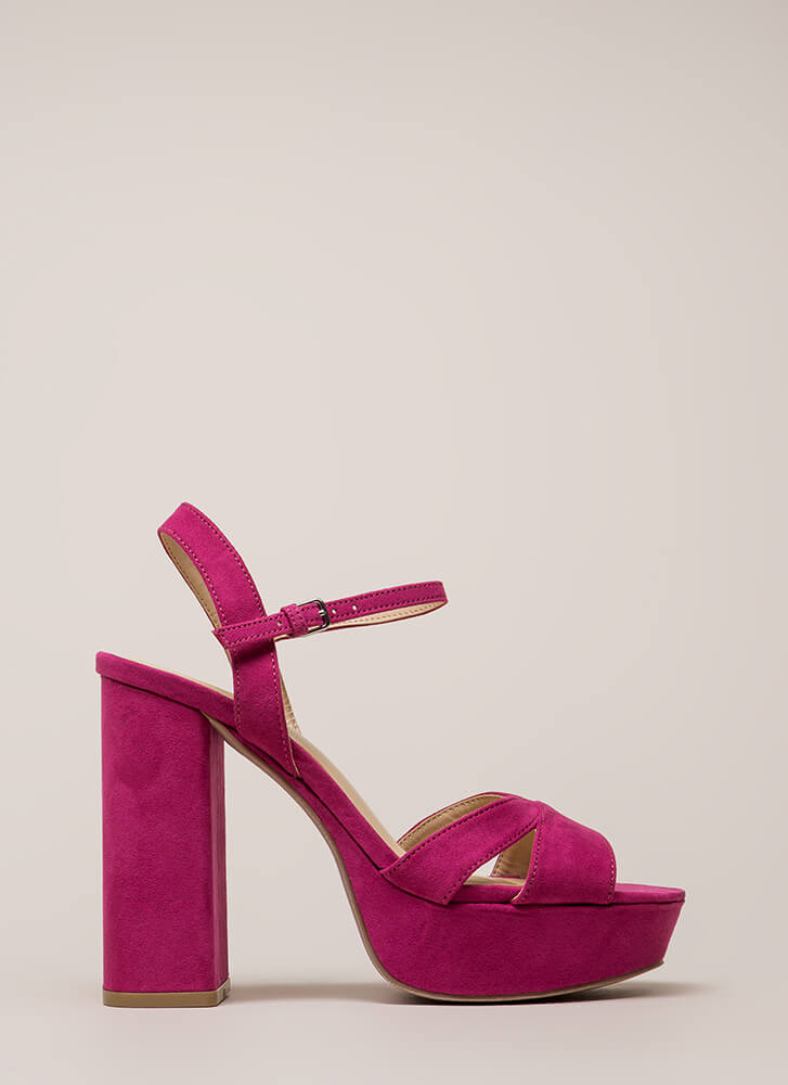 Tall Drink Chunky Faux Suede Platforms MAGENTA