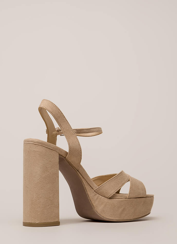 Tall Drink Chunky Faux Suede Platforms NATURAL