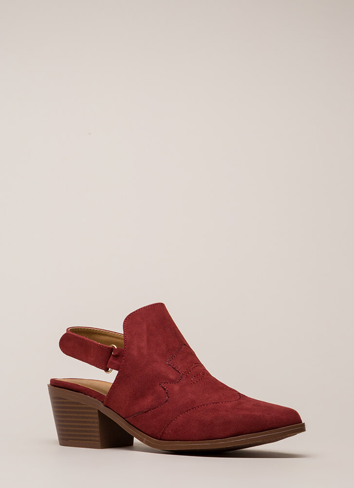 Arms Wide Open-Back Faux Suede Booties ADOBERED