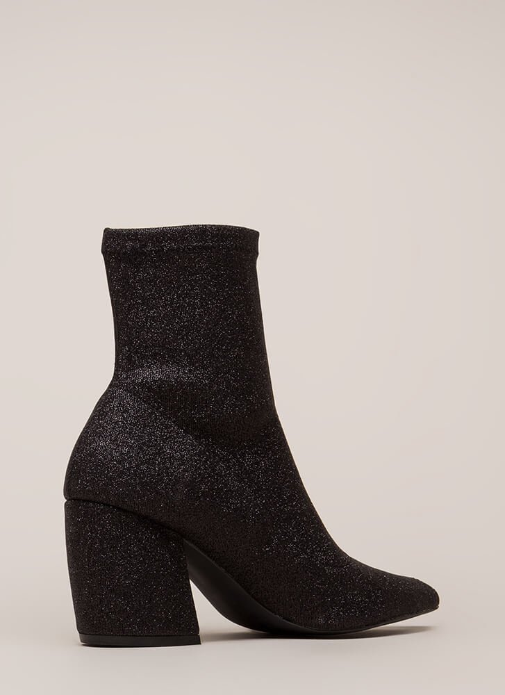 Glittery Nights Pointy Booties BLACK