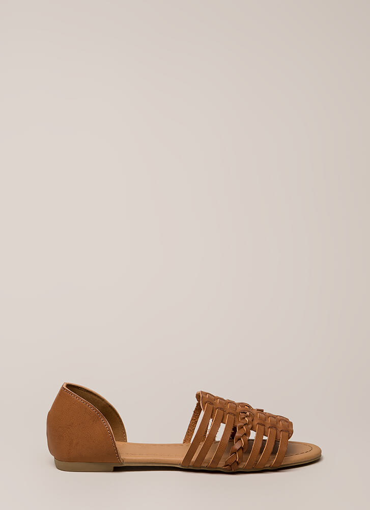 Festival Cool Strappy Braided Sandals CAMEL
