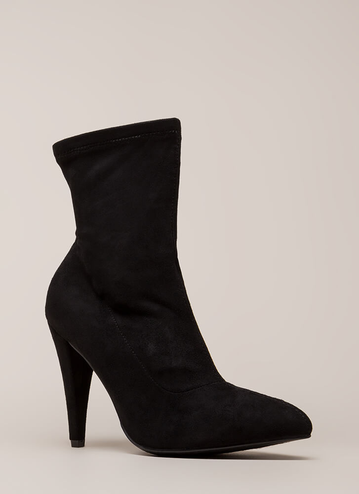 On Call Pointy Faux Suede Booties BLACK