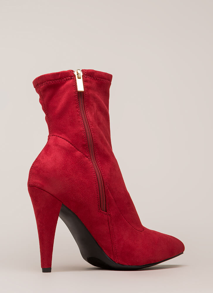 On Call Pointy Faux Suede Booties RED