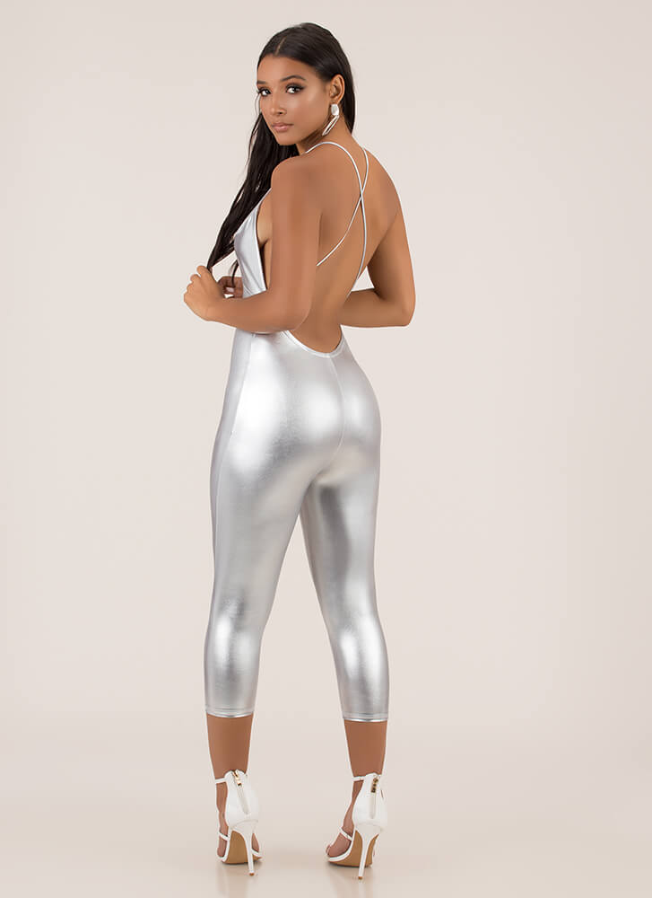 Liquid Courage Shiny Cropped Jumpsuit SILVER