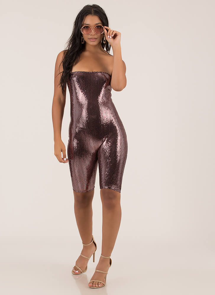Late Night Strapless Sequined Romper PINK