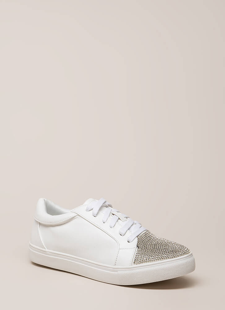Bling It Jeweled Faux Leather Sneakers WHITE (You Saved $21)