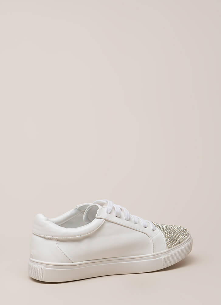 Bling It Jeweled Faux Leather Sneakers WHITE