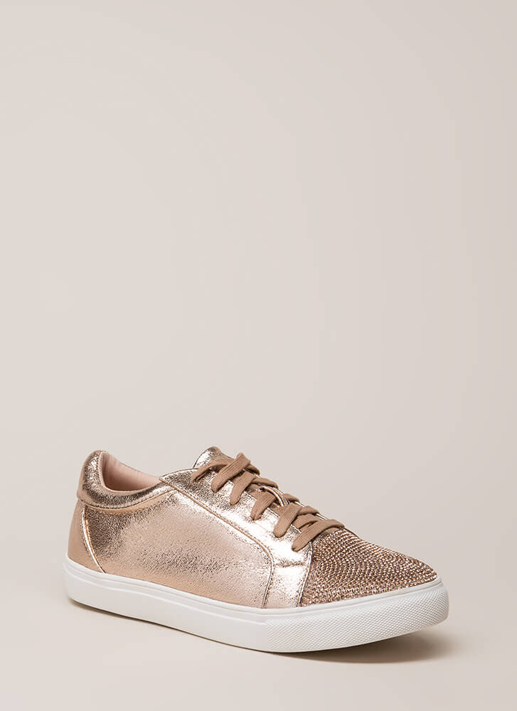 Bling It Jeweled Metallic Sneakers ROSEGOLD