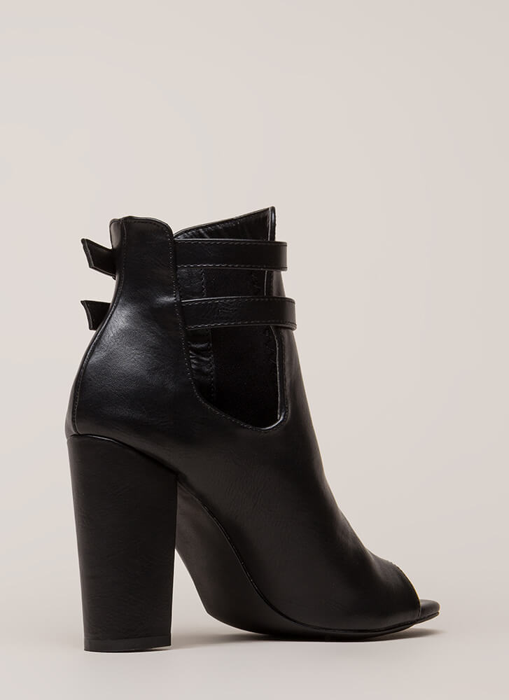 Two Perfect Cut-Out Peep-Toe Booties BLACK