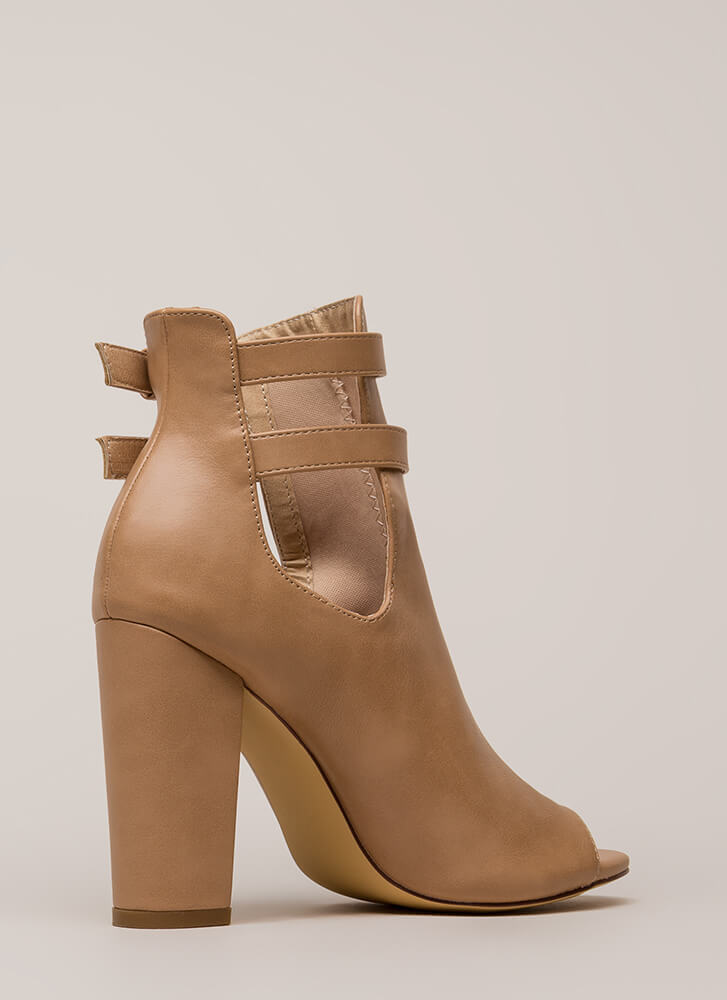 Two Perfect Cut-Out Peep-Toe Booties NUDE