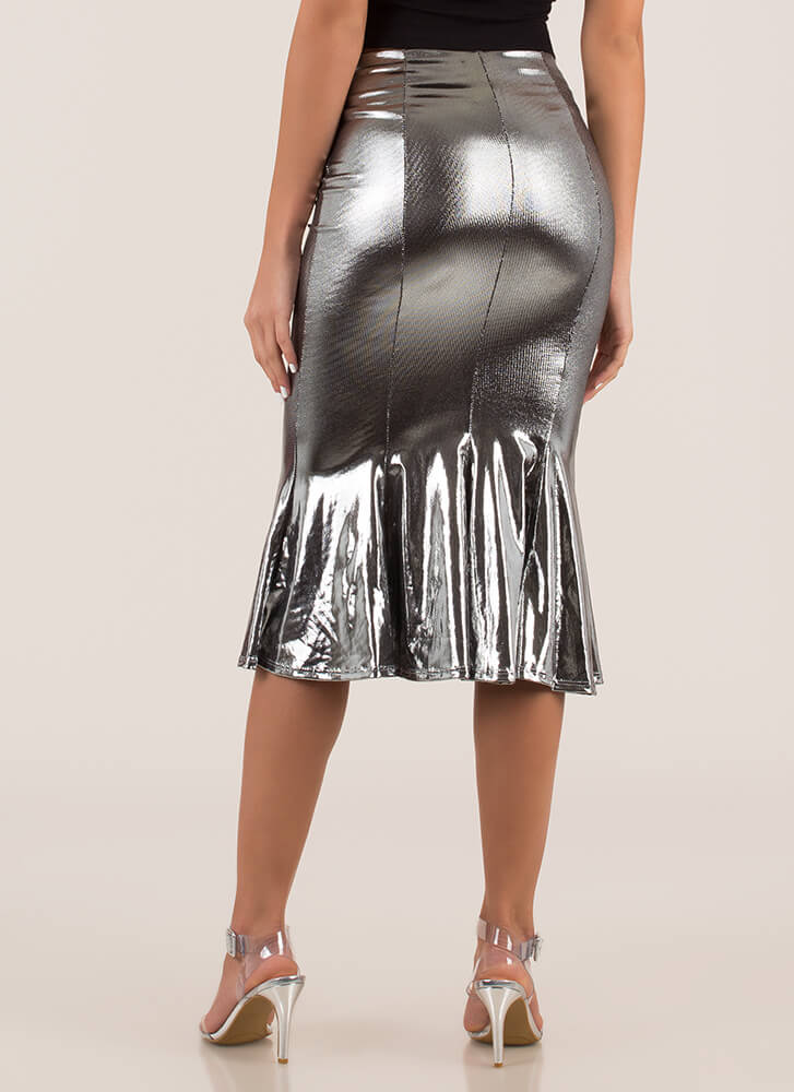 Metallic Magic Fit-And-Flare Midi Skirt SILVER