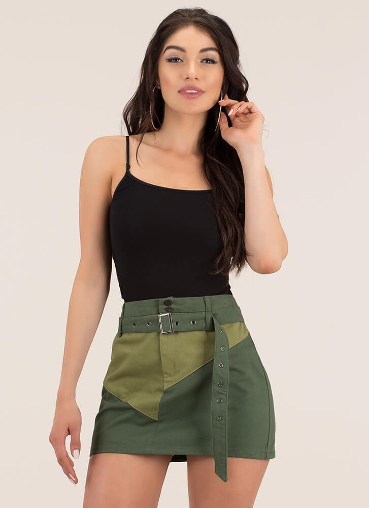 Cute In Colorblock Belted Miniskirt ARMY