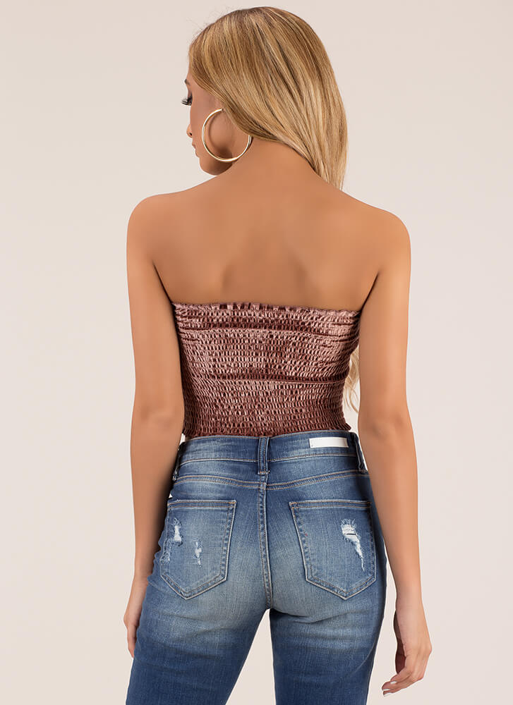 Shorty Smocked Cropped Velvet Tube Top MAUVE (You Saved $6)