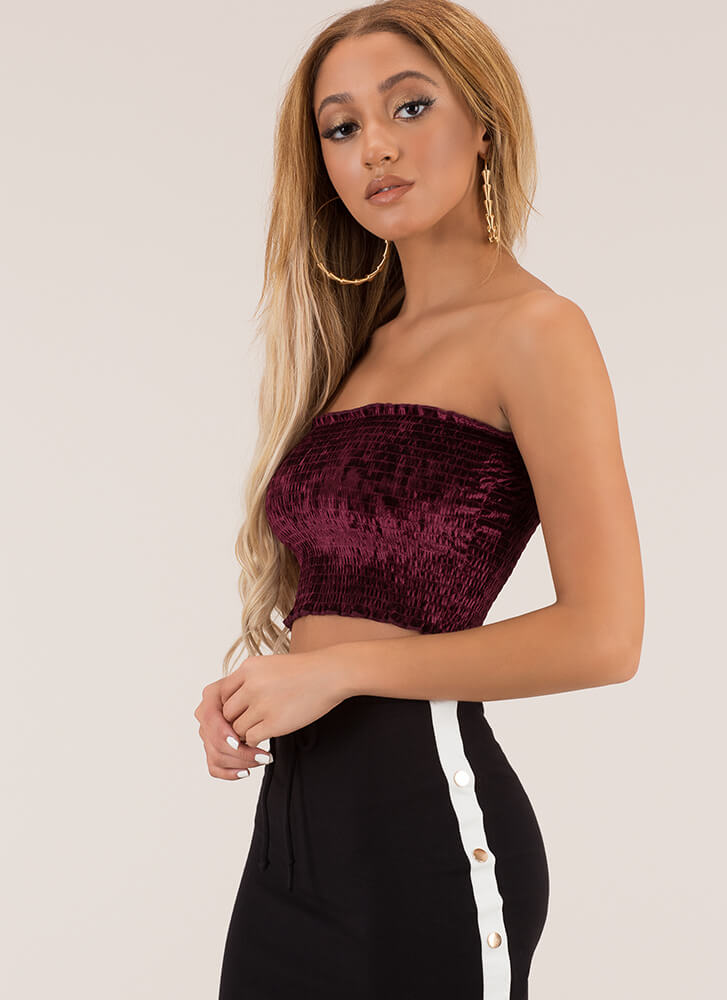 Shorty Smocked Cropped Velvet Tube Top MERLOT (You Saved $6)